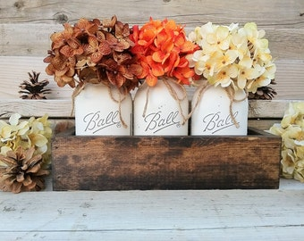 Fall Table Centerpiece,Fall Decor,Seasonal,Thanksgiving Table Decor,Mantle Decor,Rustic Planter With Jars,Mason Jar Centerpiece box,Country