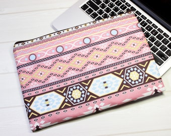Ethnic laptop sleeve, pink Macbook case, zippered laptop case, Macbook Air sleeve, Macbook Pro case, 13 inch laptop case, unique clutch bag