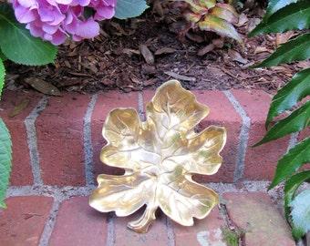 Beautiful Brass Maple Leaf Dish FREE Ship