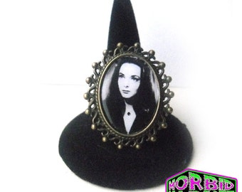 Morticia Addams The Addams Family Bronze Cameo Adjustable Horror Ring