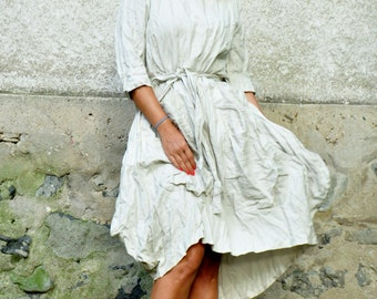 Ivory linen dress/Woman maxi dress/Plus size dress with big pockets/Ivory casual dress/Handmade dress/Linen 100% dress/