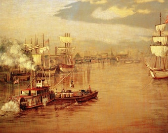River Barge and Sketch of Greenville MS Waterfront from the book Burny Myrick Timeless River