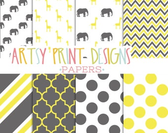 Safari Scrapbook Paper Pack, Digital Safari Animals Scrapbook Papers, Printable Scrapbook Papers