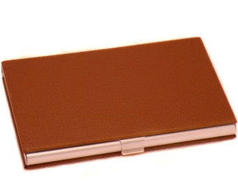 Quality Metal & Brown Leather Business Credit Card ID Case Box Classic Holder Organizer Perfect Gift