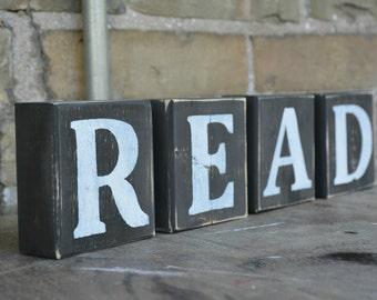 Wood letter blocks.  Read sign.  Rustic wooden letter.  Reclaimed wood letters.  Bookshelf decor