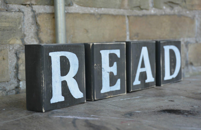 wood letter blocks read sign rustic wooden letter reclaimed wood letters bookshelf decor