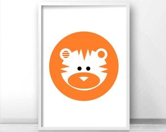 Modern Nursery Decor, Tiger Nursery Print, Printable Kids Art Print, Nursery Animal Print, Printable Art For Nursery, Tiger Art, Kids Print