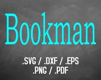 Bookman Font Design Files, Silhouette Studio, Cricut Design, Brother Scan Cut, Scal, DXF Files, SVG Font, EPS Files, Svg Fonts, Block Font
