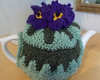 Purple Pansy Tea Cosy, handmade crochet, sized to fit a 4 cup pot