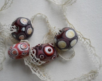 Lampwork glass beads vintage colors