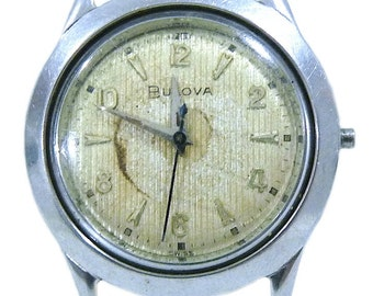 Vintage Bulova Mechsanical 10 BUC Stainless Steel Mens Watch Swiss