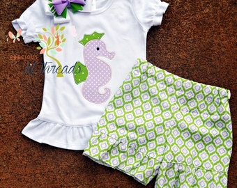 Girls Seahorse shirt- Toddler Girls Seahorse Shirt- Personalized shirt- Beach Shirt- Ruffle Shorts size 6m, 12m, 18m, 2t, 3t, 4t, 5t, 6, 8