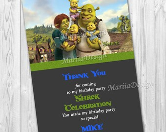 50%!  SALE!  Shrek Thank You Card - Shrek Printable