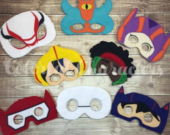 Big Hero masks, Party favors, Baymax, costume,  felt masks, pretend play, made to order