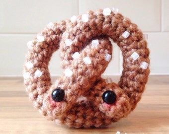Cute Crochet Pretzel! Crochet Pretzel, Crochet Food, Amigurumi Food, Kawaii Food, Kawaii Crochet, Cute Crochet Food