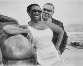 Couples wedding portrait drawing, Anniversary Portrait, Custom drawing from photo, Pencil Art
