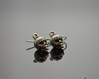 Earrings Ornamented Skulls Silver