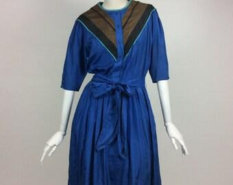 VINTAGE LOUIS FERAUD blue silk dress
