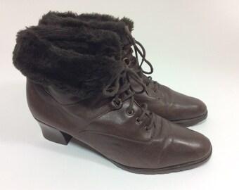 Vintage fur trimmed booties