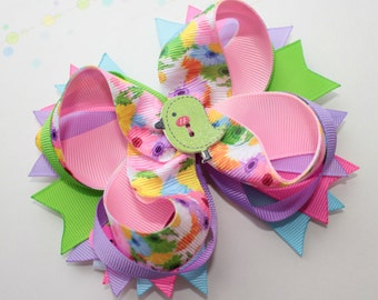Summer stacked hair bow baby cute bow flower bow summer over the top bow summer outfit cute yellow green blue bow flower boutique of bow