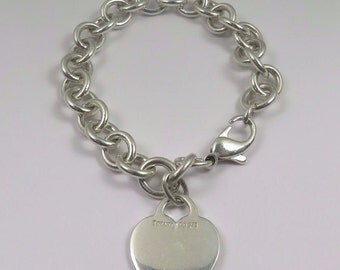 Tiffany & Co.  Sterling Silver With Heart Charm Bracelet