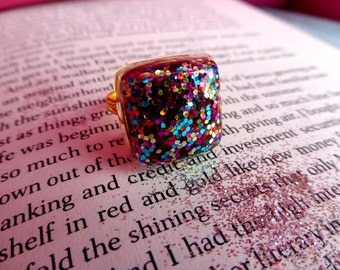 Glitter ring, rainbow ring, sparkle ring, resin ring, statement ring, multicolor ring, spade inspired, christmas gift