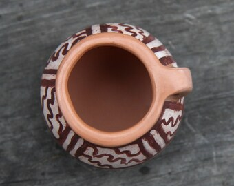 Small Hand Painted Clay Pot with Handle