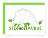 Halloween card - dinosaur - happy halloween - stegosaurus - illustrated greeting card - dino ghost - spoopy - nerdy card - blank card