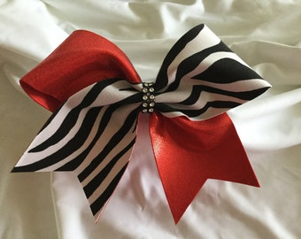 Black and White Zebra and Red Cheer Bow