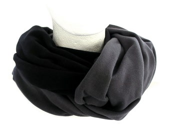 Jersey Color Block Long Scarf Black and Dark Gray Fall Winter