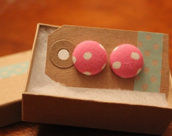 SALE || Pink with White Dots Fabric Button