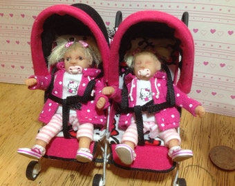 Dolls house ooak baby girl & sister with double buggy 1/12 scale