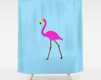 Pink Flamingo shower curtain-Tropical shower curtain-Blue curtain-Pop art Modern Curtain-Etsy gift-Designer Bathroom decor-Colourful bath