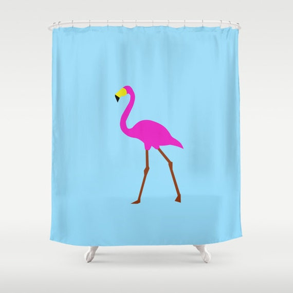 Pink Flamingo Shower Curtain Tropical Shower Curtain Blue