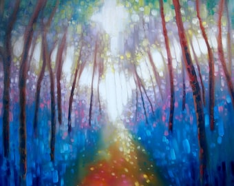 Print on Canvas - Cathedral of Spring - a bluebell wood abstract