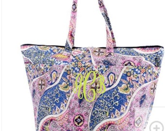 Monogram Blue Paisley Quilted Cotton Insulated Tote/Cooler bag