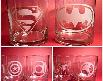 Superhero Etched x6 short glass set. Comes with 1 of each: Superman, Batman, Captain America, Green Lantern, Spiderman, Hulk.