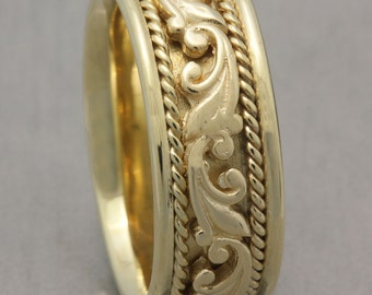 9mm 14K Yellow Gold Hand Crafted Paisley Design, Comfort Fit with Rope Twist , Wedding Band,  Gold Rings ,