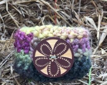 Crochet button cuff bracelet