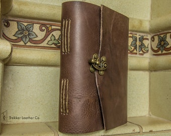 Chestnut Brown Leather Journal with Brass Clasp | Handmade in the U.S.A.