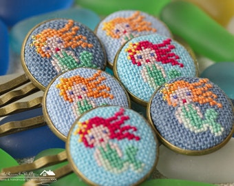 Kid's hair clips with cross stitched mermaid / hand embroidered hairpins / souvenir