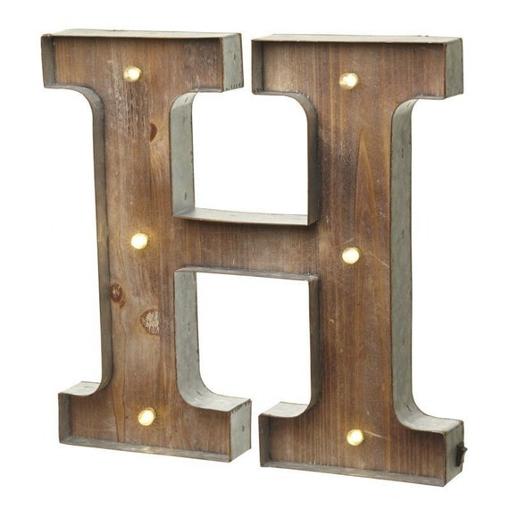 Wall Decor Light Up Letters : Freestanding wooden rustic LED light up letters Bundle Word