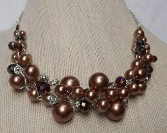 Copper and Bronze Pearl Crocheted Necklace