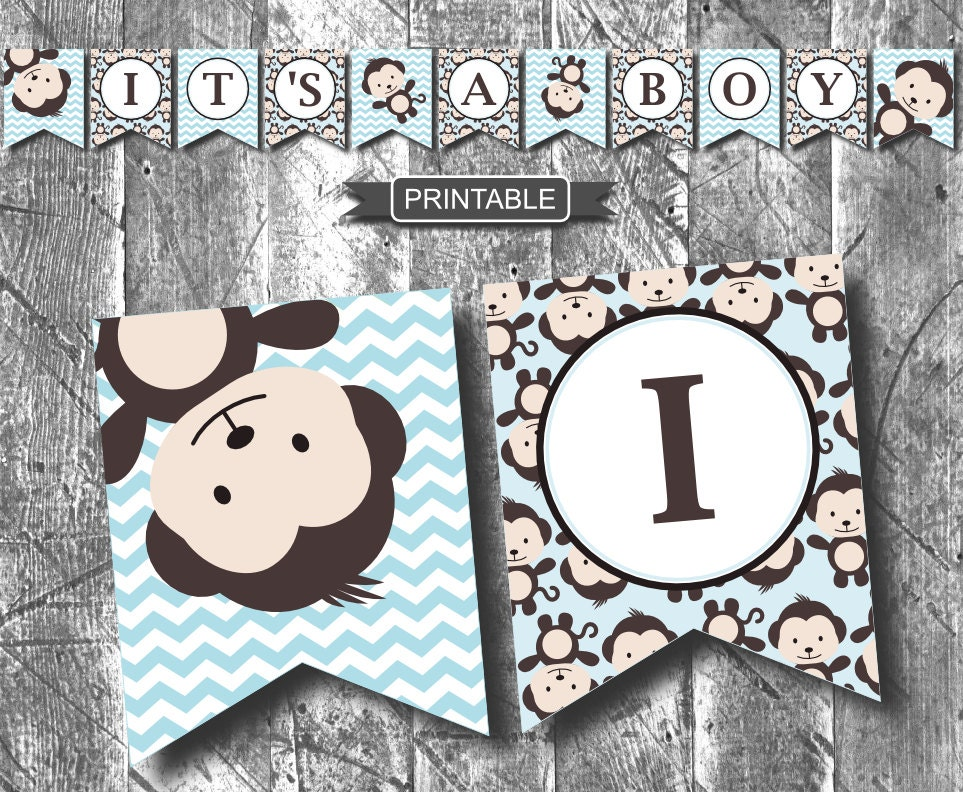 Diy baby blue monkey baby shower decorations banner printable - Baby shower monkey decorations for a girl ...