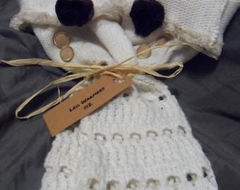 White sweater leg warmers