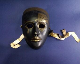 Vintage brass mask, Vintage Solid Brass mask, engraved mask