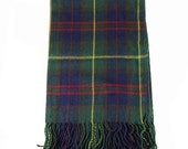 Oversized Green Blanket Knit Check plaid Scarf Scarves Wrap Shawl Fringe Vintgae