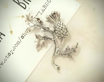 Scottish Thistle Brooch Scottish Thistle Pin Silver Lapel Pin Scottish Thistle Jewelry Flower Brooch Wedding Accesorios Gifts For Her