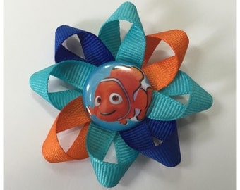 Finding Nemo Ribbon Loopy Bow Hair Clip, Blue and Orange Loopy Bow, Nemo Loopy Bow, Girls Hair Bow