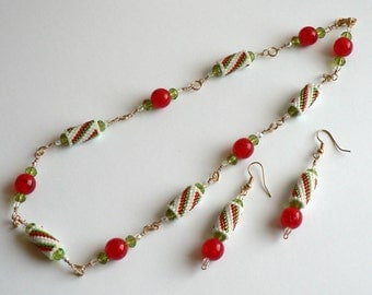 Striped Tube Christmas Jewelry Set